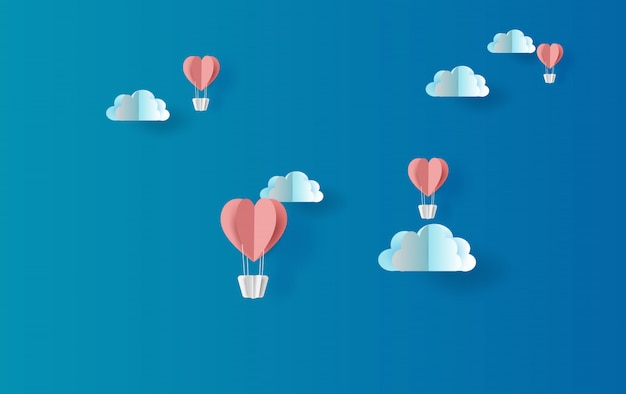Illustrazione di galleggiamento rosso del cuore dei palloni Vettore Premium