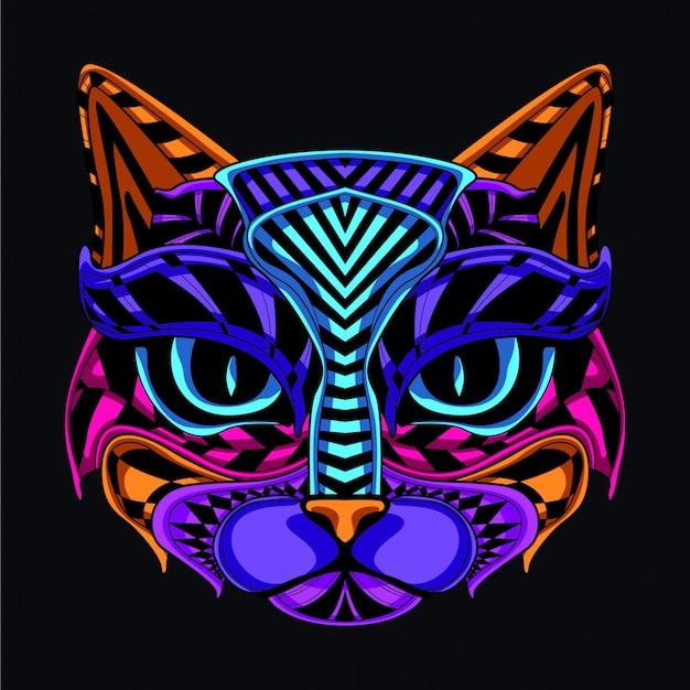 Illustrazione di gatto decorativo Vettore Premium