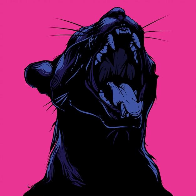 Illustrazione di gatto urlando e design tshirt Vettore Premium
