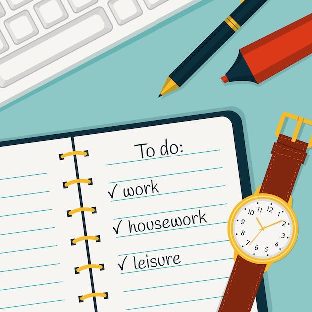 Illustrazione di gestione del tempo Vettore Premium