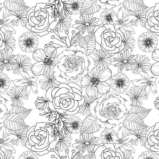 Illustrazione di giardino di rose in bianco e nero Vettore Premium