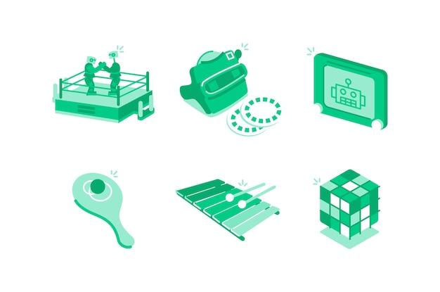 Illustrazione di giocattoli e giochi Vettore Premium