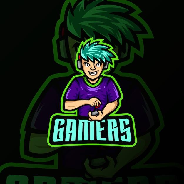Illustrazione di gioco di esportazione del logo della mascotte del giocatore Vettore Premium