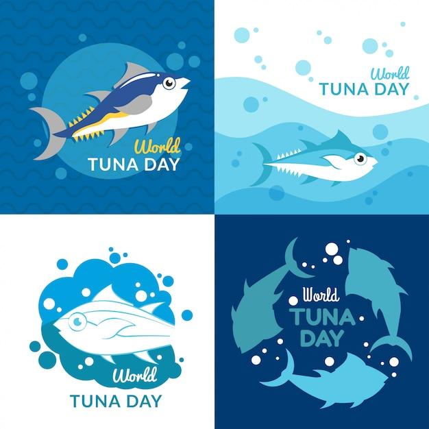 Illustrazione di giornata mondiale del tonno Vettore Premium