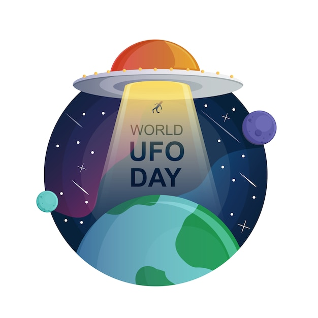 Illustrazione di giornata mondiale ufo Vettore Premium