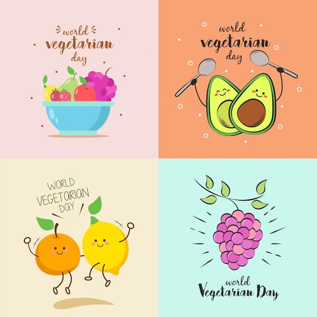 Illustrazione di giornata vegetariana mondiale Vettore Premium