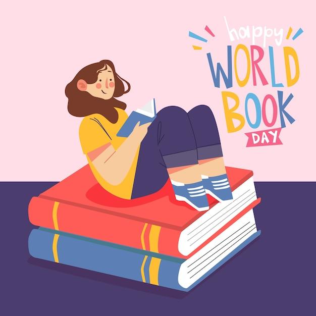 Illustrazione di giorno del libro del mondo della lettura della ragazza Vettore gratuito