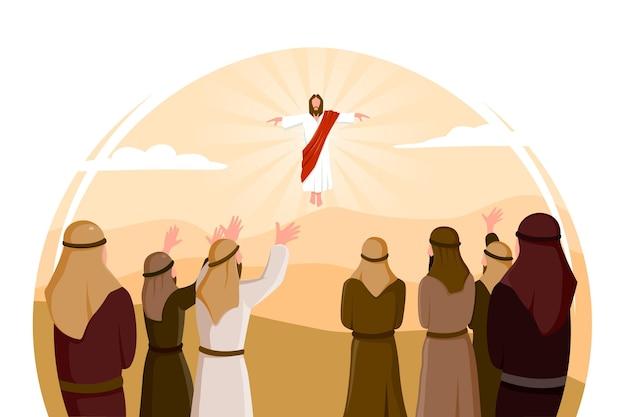 Illustrazione di giorno di ascensione design piatto con gesù cristo Vettore gratuito