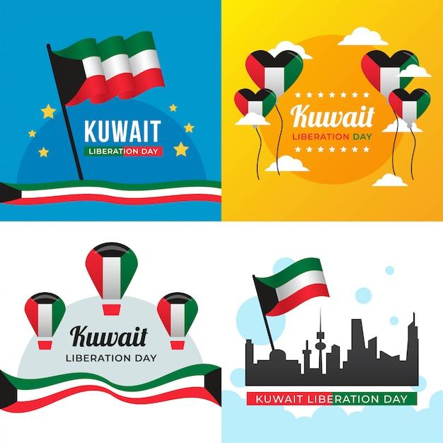 Illustrazione di giorno di liberazione del kuwait Vettore Premium