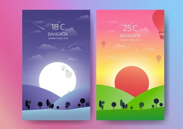 Illustrazione di giorno e notte paesaggio Vettore Premium