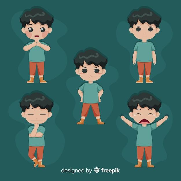 Illustrazione di giovani con diverse emozioni Vettore gratuito