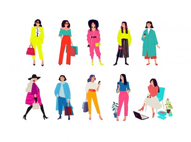 Illustrazione di giovani ragazze alla moda. Vettore Premium
