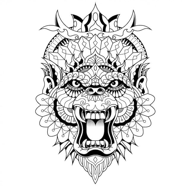 Illustrazione di gorilla, zentangle mandala e design della maglietta Vettore Premium