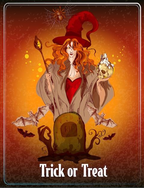 Illustrazione di halloween colorato. dolcetto o scherzetto Vettore Premium