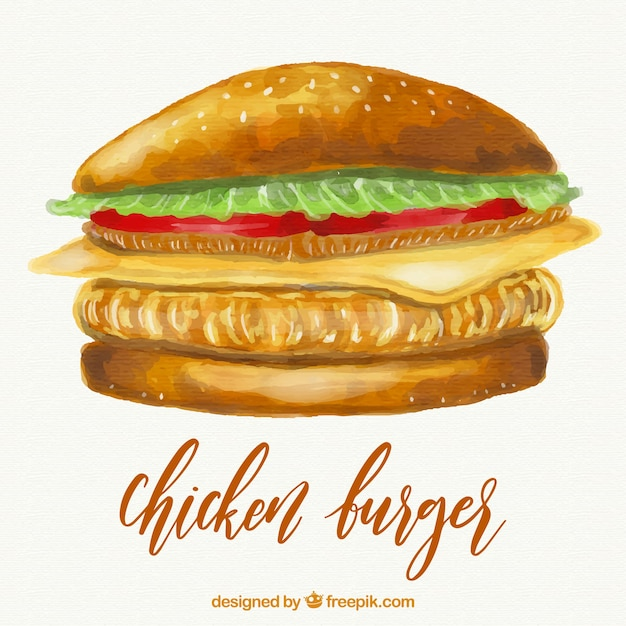 Illustrazione di hamburger di pollo Vettore gratuito