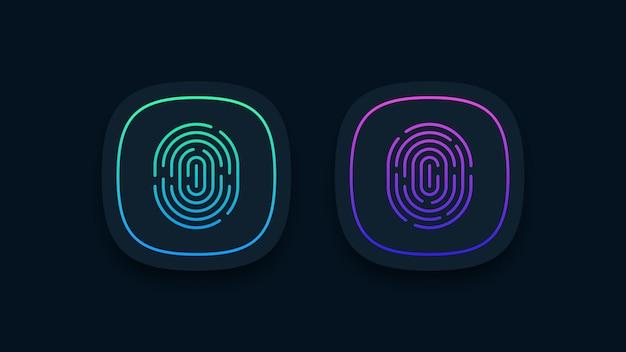 Illustrazione di icone di impronte digitali Vettore Premium