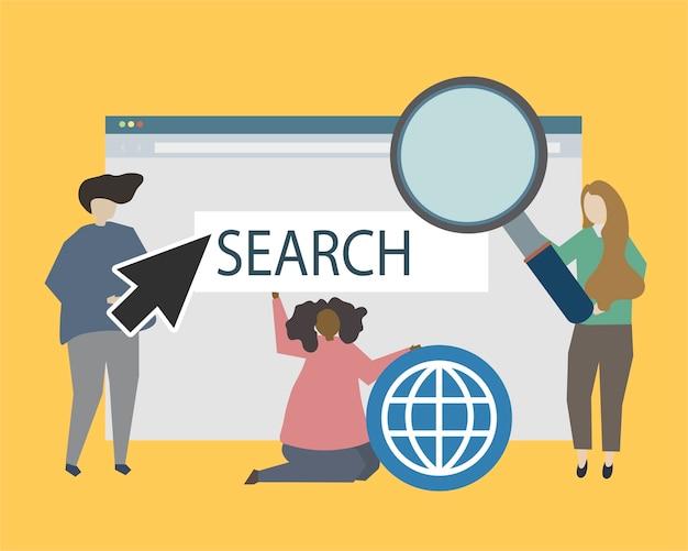 Illustrazione di illustrazione di presenza sito web e online Vettore gratuito