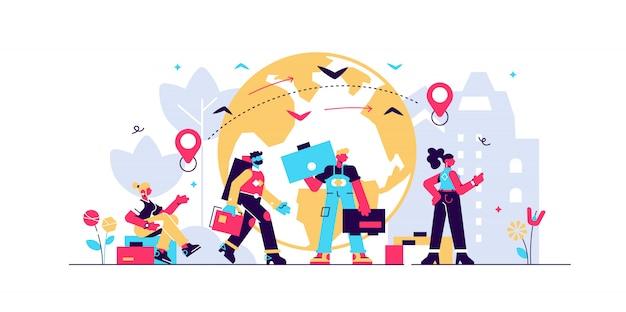 Illustrazione di immigrazione Vettore Premium