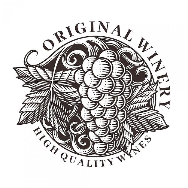 Illustrazione di incisione vettoriale ornamento di uva Vettore Premium