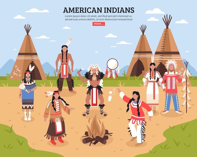 Illustrazione di indiani d'america Vettore gratuito