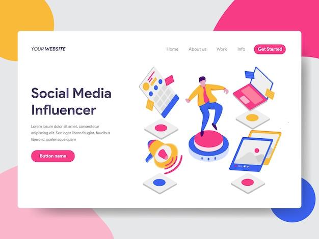 Illustrazione di influenza sociale dei media Vettore Premium