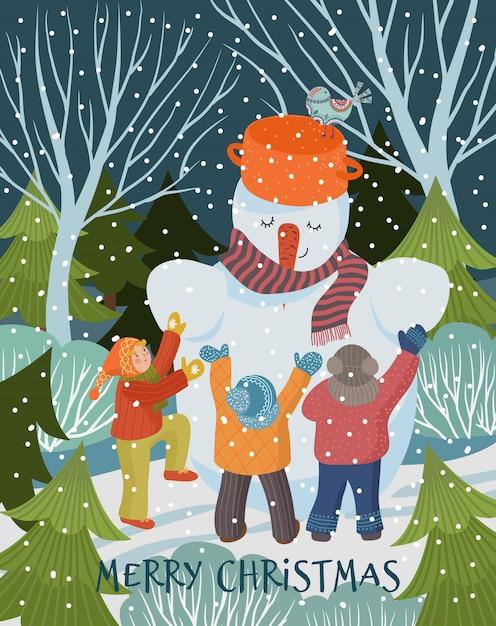 Illustrazione di inverno Vettore Premium