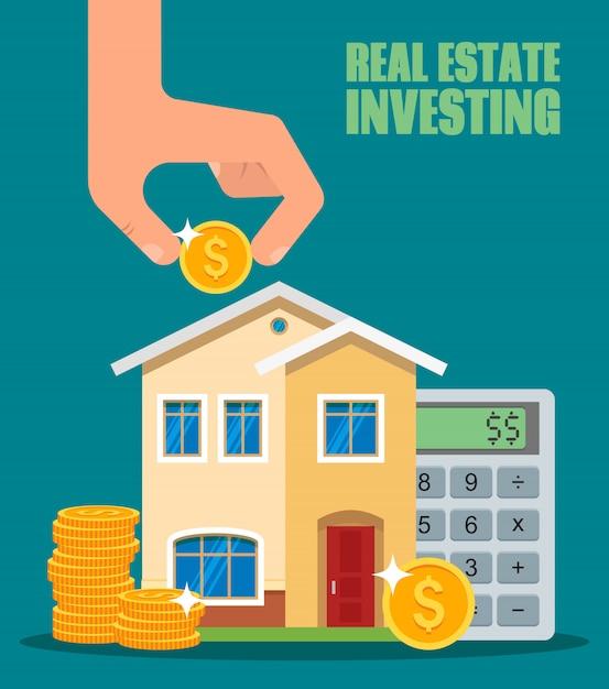 Illustrazione di investimento immobiliare Vettore Premium