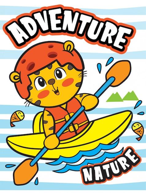 Illustrazione di kayak animale carino per t-shirt Vettore Premium