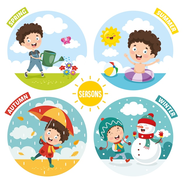Illustrazione di kid e quattro stagioni Vettore Premium