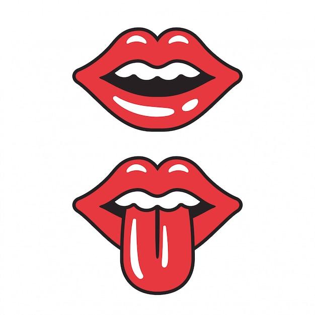 Illustrazione di labbra rosse bocca femminile sexy con la lingua sporgente. Vettore Premium