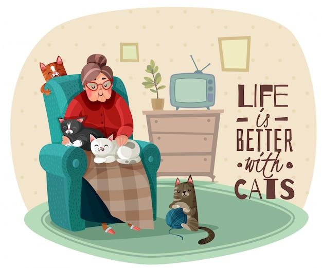 Illustrazione di lady in armchair cats Vettore gratuito
