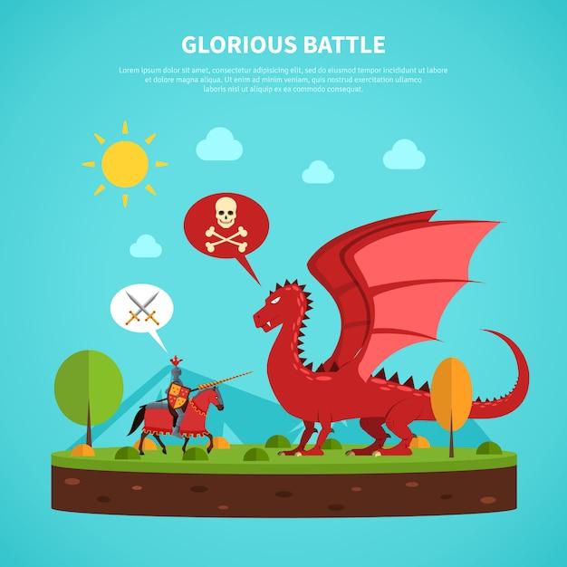 Illustrazione di leggenda del cavaliere drago piatta scaricare