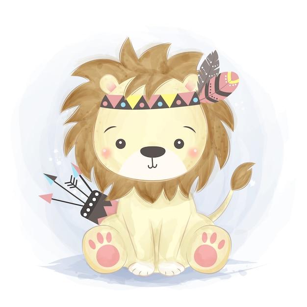 Illustrazione di leone carino boho Vettore Premium