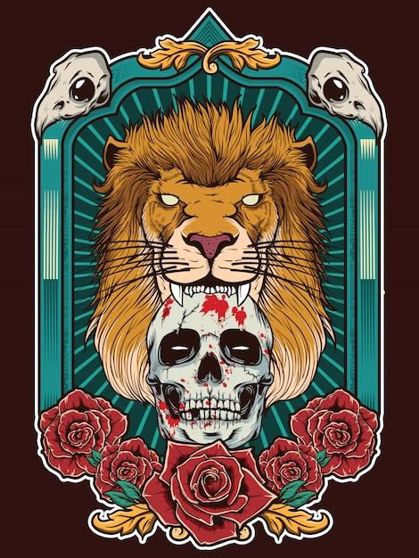 Illustrazione di leone con teschio e sfondo cornice araldico Vettore Premium