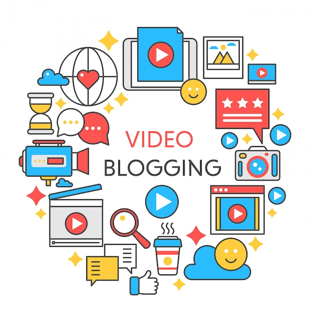 Illustrazione di linea piatta video blogging. Vettore Premium