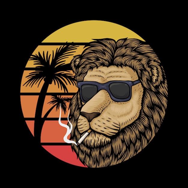 Illustrazione di lion sunset retro Vettore Premium