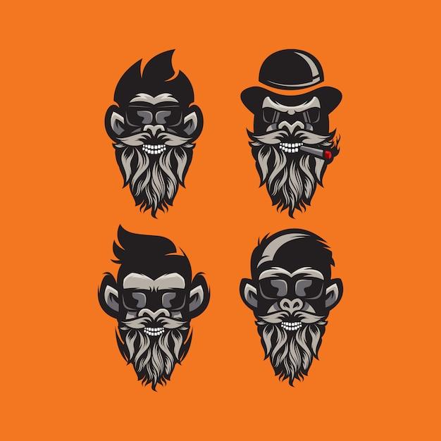 Illustrazione di logo barba gorila Vettore Premium