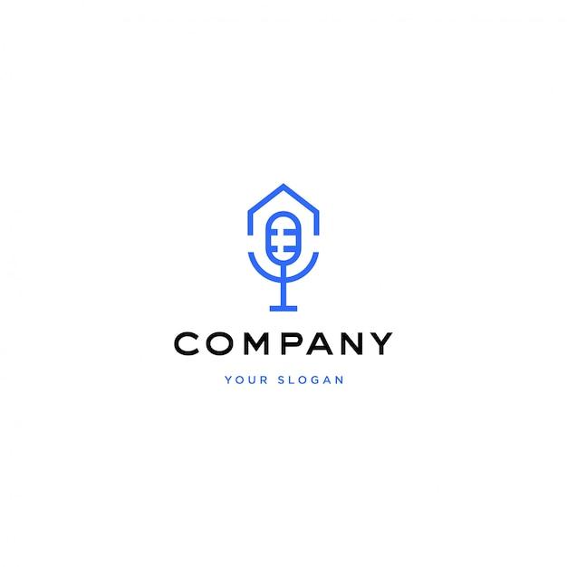Illustrazione di logo casa podcast Vettore Premium