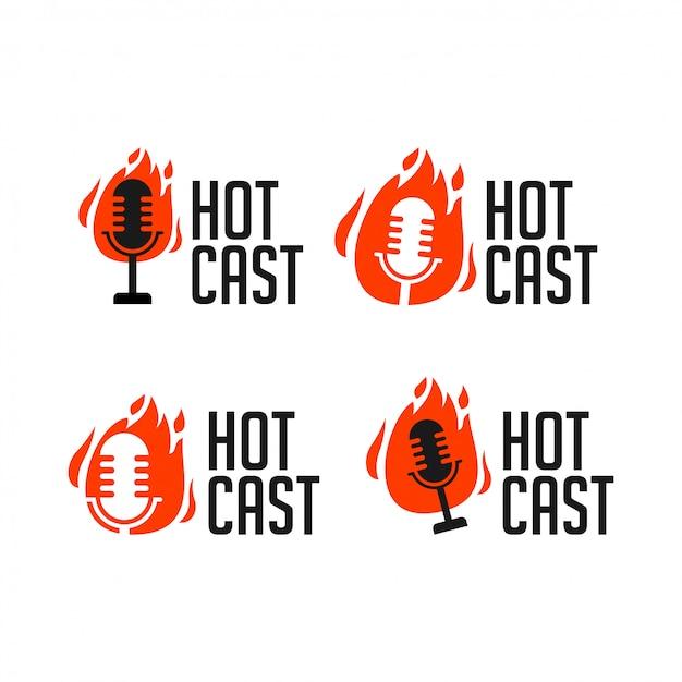 Illustrazione di logo dell'icona della radio di podcast di hotcast Vettore Premium