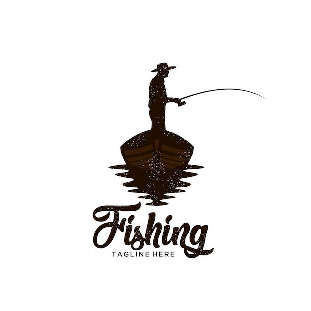 Illustrazione di logo di pesca barca classico Vettore Premium
