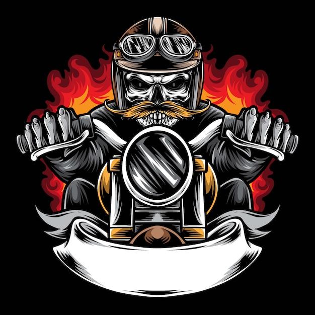 Illustrazione di logo di vettore del motociclista del cranio Vettore Premium