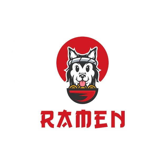Illustrazione di logo di vettore di cane ramen Vettore Premium