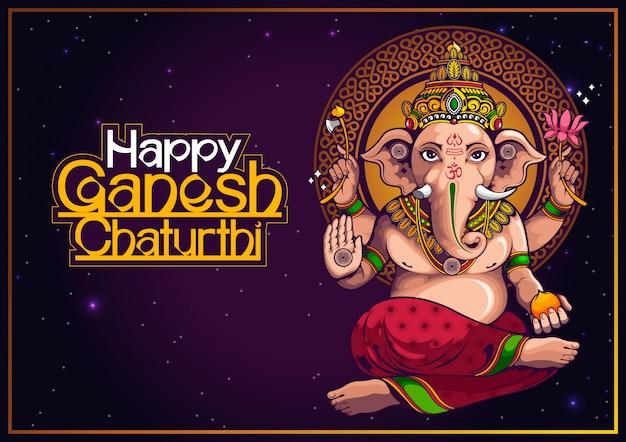 Illustrazione di lord ganesha dell'india per il tradizionale festival indù, ganesha chaturthi. Vettore Premium