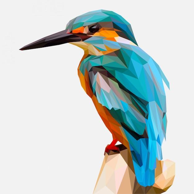 Illustrazione di lowpoly dell'uccello del martin pescatore Vettore Premium
