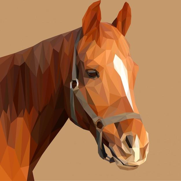 Illustrazione di lowpoly della testa di cavallo di brown Vettore Premium