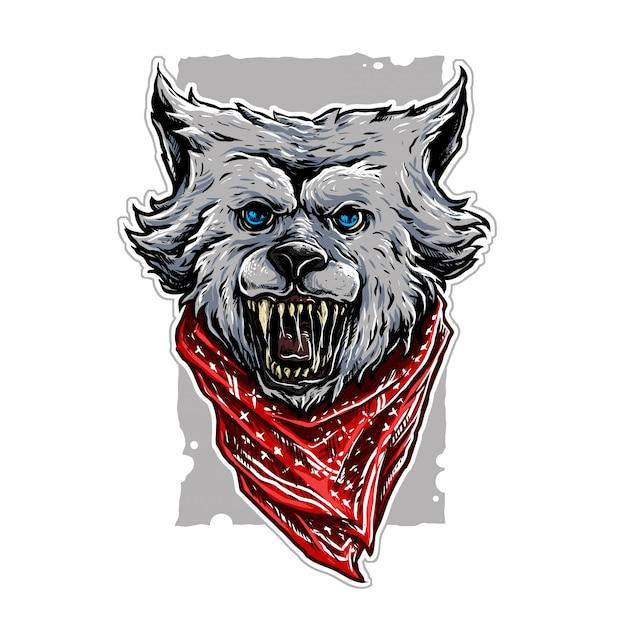 Illustrazione di lupo gangster Vettore Premium