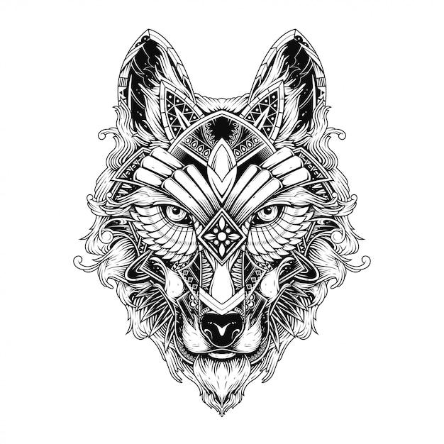 Illustrazione di lupo, tatuaggio e design della maglietta Vettore Premium