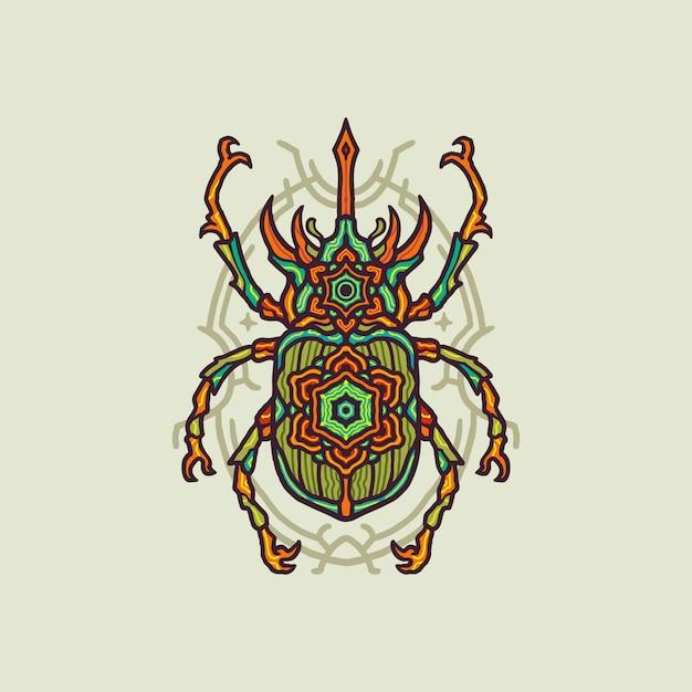 Illustrazione di lusso colorato mandala bug Vettore Premium