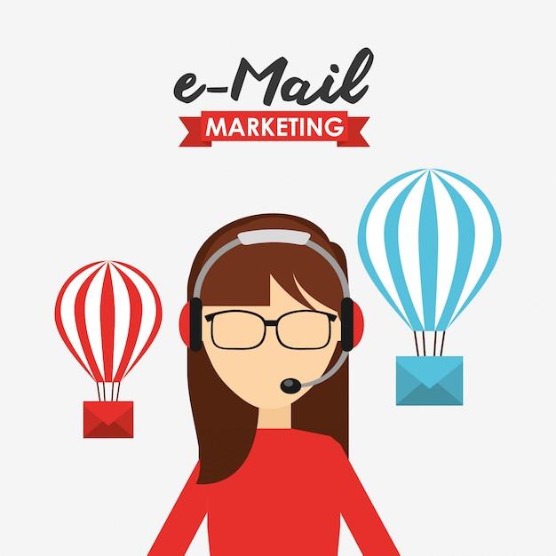 Illustrazione di marketing e-mail Vettore gratuito