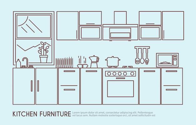 Illustrazione di mobili da cucina Vettore gratuito
